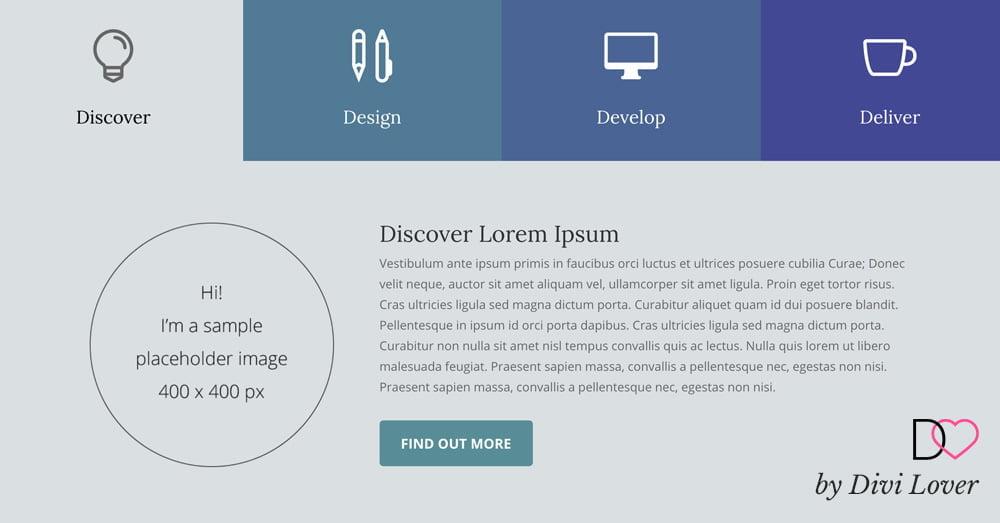Creating Custom Tabs Using Blurbs & Free Layout ~ Divi Lover