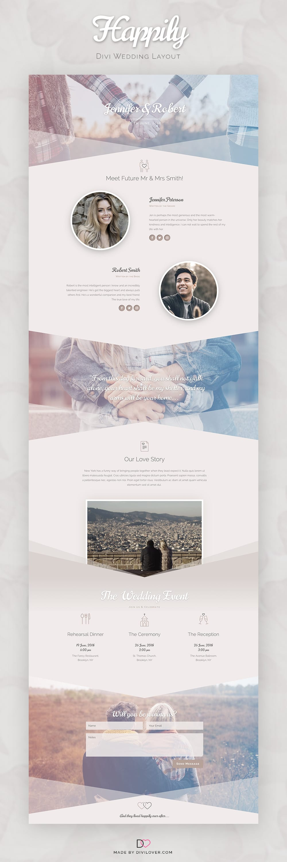 Happily: A Free Divi Wedding Page Layout ~ Divi Lover