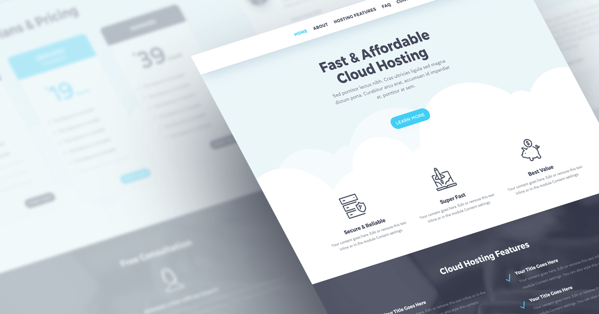 Hostly: Free Divi Layout Pack for a Hosting Business!